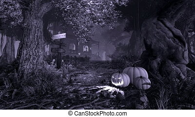 Haunted House. Monochrome. - Monochromatic 3D animation of a...