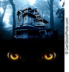 Haunted house. Old abandoned house in the night forest