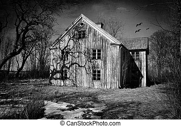 Haunted house - Old dilapidated house in black and white ...