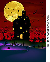 Vector Haunted House on a Graveyard hill at night with full moon. EPS 8 vector file included
