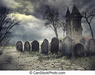 Haunted House - Hounted house on spooky graveyard