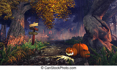 Haunted House - Realistic 3D illustration of a mystic forest...