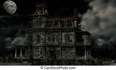 Haunted house - spooky haunted house and the full moon seems