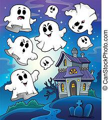Haunted house theme image 6 - eps10 vector illustration.