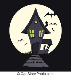 Haunted House - This is a vector cartoon illustration of a...