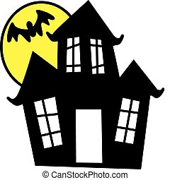 Vector illustration of haunted house in sillouhette.
