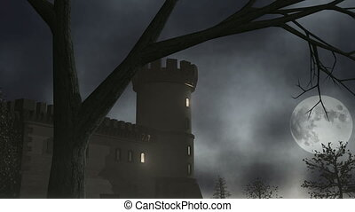 Spooky house with lightning. Animation.
