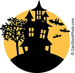 Haunted house with bats and moon