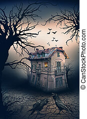 Haunted House with Crows and Horror Scene. -