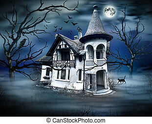 Haunted House with Dark Horrow Atmosphere.