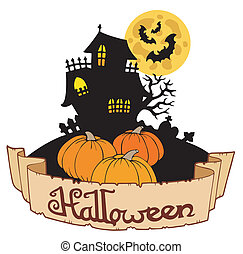 Haunted house with Halloween banner