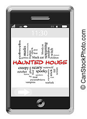 Haunted House Word Cloud Concept on Touchscreen Phone