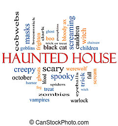 Haunted House Word Cloud Concept