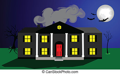 Haunted Mansion - Large spooky house with large white ...