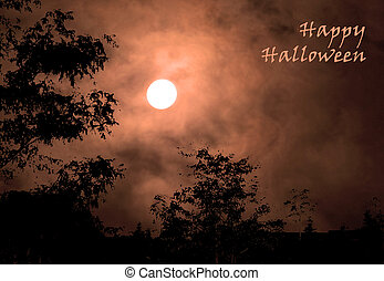 Haunted Sky with Greeting - Full moon in orange clouds with ...