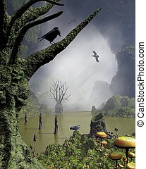 Misty haunted swamp with rotting twisted trees with screaming faces covered in moss and fungus, surounded by towering cliffs, 3d digitally rendered illustration