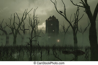 Spooky haunted tower in a misty swamp with strange reptile creature swimming in the water, 3d digitally rendered illustration
