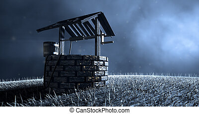 Haunted Wishing Well - A haunting view of a brick water well...