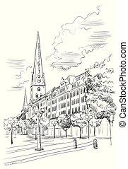 hauptkirche, sankt, 教会, petri, 光景, ハンブルク