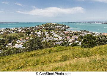 Hauraki Gulf with North Head volcano and Devonport suburb in Auckland, New Zealand
