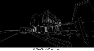 haus, abstrakt, moderne architektur