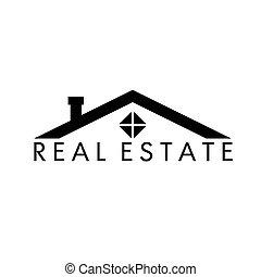 haus, abstrakt, real estate, vektor, design, schablone