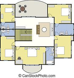 haus, architektur, floorplan, plan