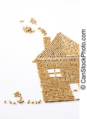 Ein Haus wurde aus Pellets für die Heizung gebaut. Alternative und nachhaltige Energie zum heizen