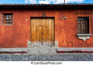 haus, brunnen, guatemala, renoviert, antigua, kolonial