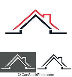 haus, daheim, logo, ikone