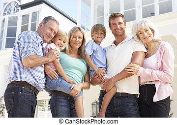 haus, draußen, ausgedehnt, modern, familie