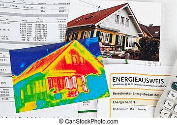 haus, energy., thermal, fotoapperat, imaging, retten