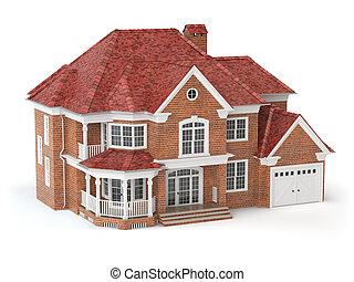 haus, freigestellt, auf, white., real estate, concept., 3d