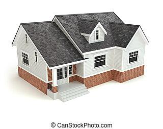 haus, freigestellt, auf, white., real estate, concept.