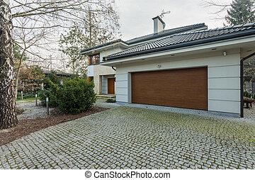 haus, freistehend, modern, garage