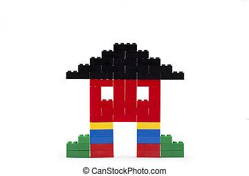 haus, gemacht, block, lego