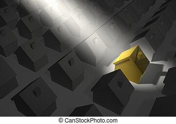 haus, golden-yellow, scheinwerfer