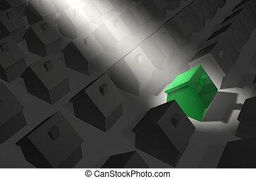haus, grün, scheinwerfer