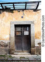 haus, guatemala, tür, antigua, ruiniert