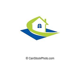 haus, immobilien, eigenschaft, ikone, abstrakt, vektor, logo