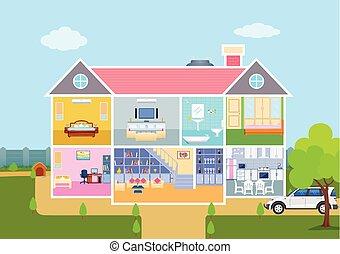 Haus, In, Schnitt, Ansicht, Mit, Ausführlich, Inneneinrichtung, Und,