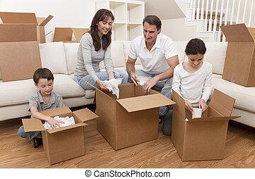 haus, kästen, bewegen, familie, auspacken