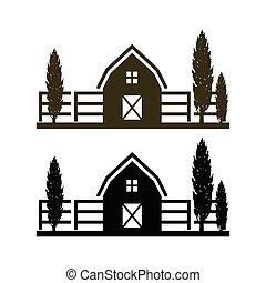 haus, landwirtschaft, bauernhof, logo, zeichen, schablone, symbol, begriff, ikone