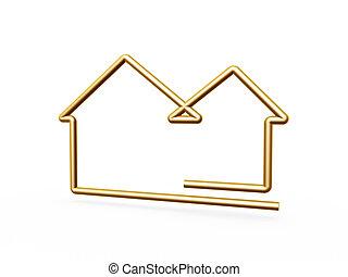 haus, linie, symbol, gold, 3d