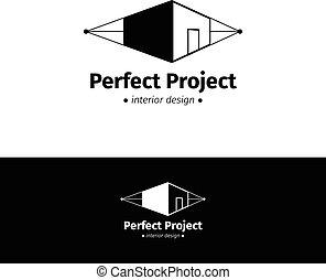 haus, logotype, vektor, schwarz, minimalistic, innenarchitektur, weißes, logo.