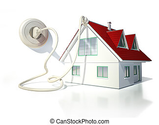 Lovely Haus, Mit, Elektrisch, Kabel, Stecker, Und, Socket.