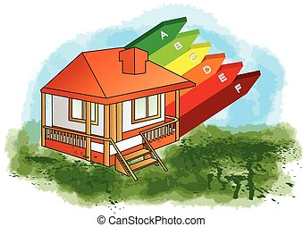 bewertung energieeffizienz gro haus bewertung farbe vektor clipart suchen sie. Black Bedroom Furniture Sets. Home Design Ideas