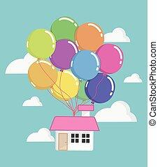 haus, mit, lose, von, farbenprächtige luftballons, fliegendes