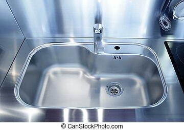 haus, modern, dekoration, sinken, silber, kueche