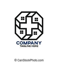 haus, modern, kreuz, logo